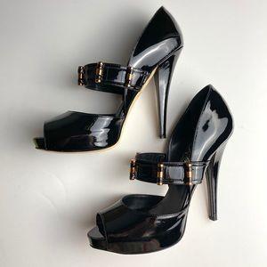 ALEJANDRO INGELMO Patent Leather Open Toe Heels